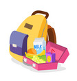 lunch box and bag schoolbag with healthy vector image