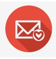 Mail icon envelope with heart Flat design vector image