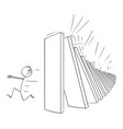 man running away from falling domino peaces vector image