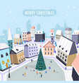 merry christmas people walking along main square vector image