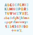 multicolored kids font letters numbers vector image vector image