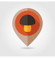 Mushroom flat mapping pin icon vector image vector image