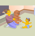 old baby sitter playng a game with baby vector image vector image