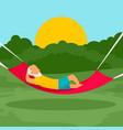 old man rest hammock concept background flat vector image