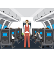 Passengers and stewardess on the plane vector image