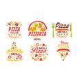 pizza menu labels collection fast food restaurant vector image