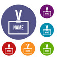plastic name badge with neck strap icons set vector image vector image