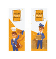 postman mailman delivers mails in postbox or vector image vector image