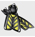 Realistic drawing fins The element of diving suit vector image vector image