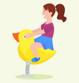 recreation on swing girl playing outdoor vector image vector image