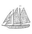 Sailboat coloring book for adults vector image vector image