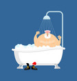 santa claus in bath christmas grandfather washes vector image