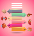 Science infographics with arrows and human organs vector image vector image