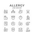 set line icons of allergy vector image