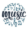 set notes music calligraphic handwriting vector image