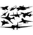 Set of different aircraft vector image vector image
