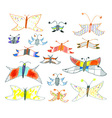 Set of hand-drawn butterflies and moths vector image vector image