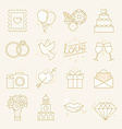 set of linear icons related to love vector image