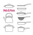 Set of silhouettes utensils Pots pans kettle vector image