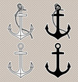 set with isolated anchors black and white vector image