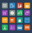 shopping mall and delivery icons set flat design vector image vector image