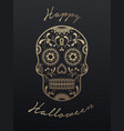 sugar skull day of the dead and halloween vector image vector image