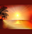 Sunset background on beach with palm tree vector image vector image