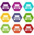 supermarket building icon set color hexahedron vector image vector image