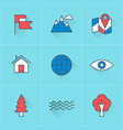 Travel icons icon set in flat design style For web vector image vector image