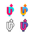 up word colorful logo with arrow up u and p vector image vector image