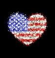 usa flag sparkling heart badge vector image vector image