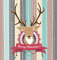 Vintage Christmas card with Deer Cold Pastel vector image vector image