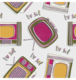 vintage tv drawing wallpaper vector image vector image