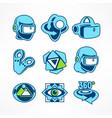 virtual reality icon set vector image