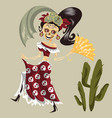 woman skeleton in mexican costume dancing poster vector image