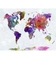 World map in watercolor multicolor blue sea vector image