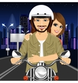 young couple riding motorcycle through city vector image vector image