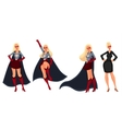 Superhero woman in cape and business suit vector image