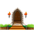 A closed door at the castle vector image vector image