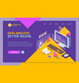 analysis data investment concept landing web page vector image vector image