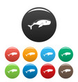 big whale icons set color vector image