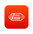 black friday sale tag icon digital red vector image