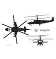 black silhouette military helicopter vector image vector image