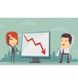 Business people with loss arrow vector image