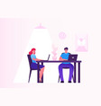 business woman and man working on personal vector image vector image