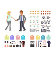 cartoon business man and woman vector image vector image