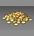 cartoon pile gold coins isolated on transparent vector image vector image
