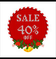 christmas sale tag with holly berry branch vector image vector image