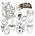 coffee set drawing vector image