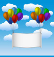 colorfull helium balloons and banner in sky vector image